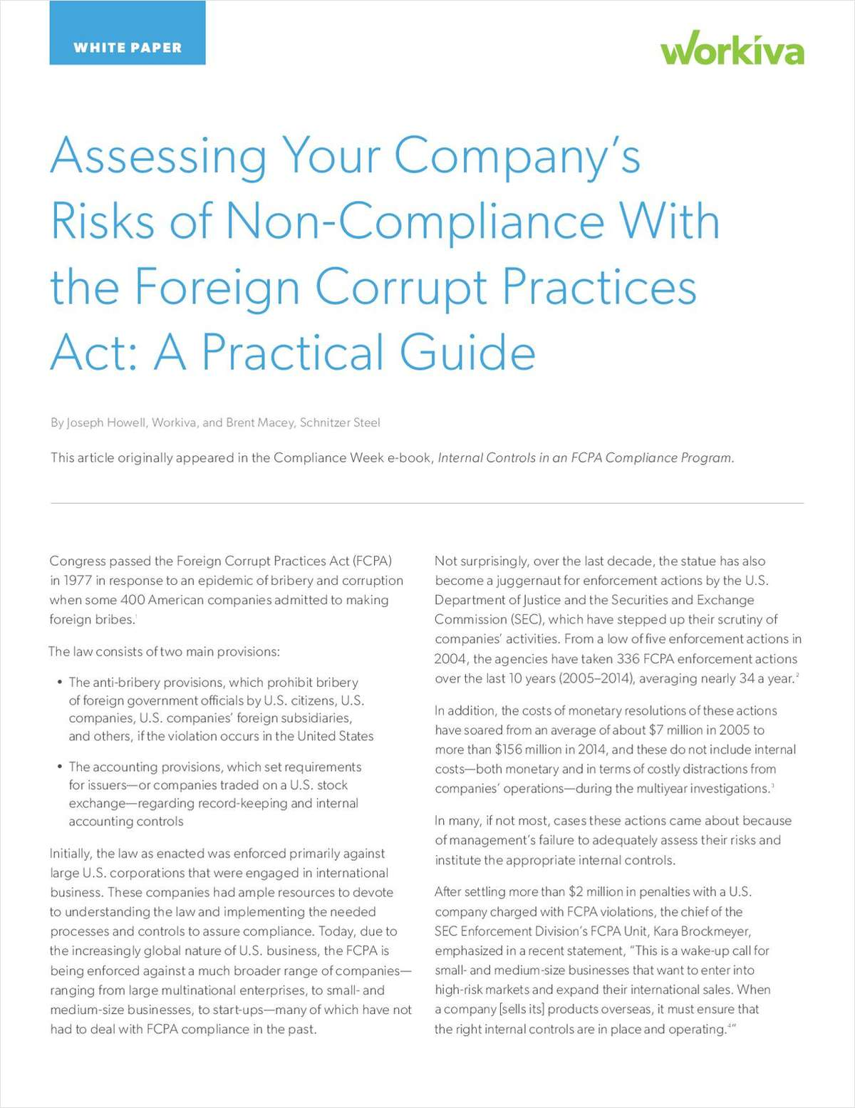 Assessing Your Company's Risks of Non-Compliance with the FCPA