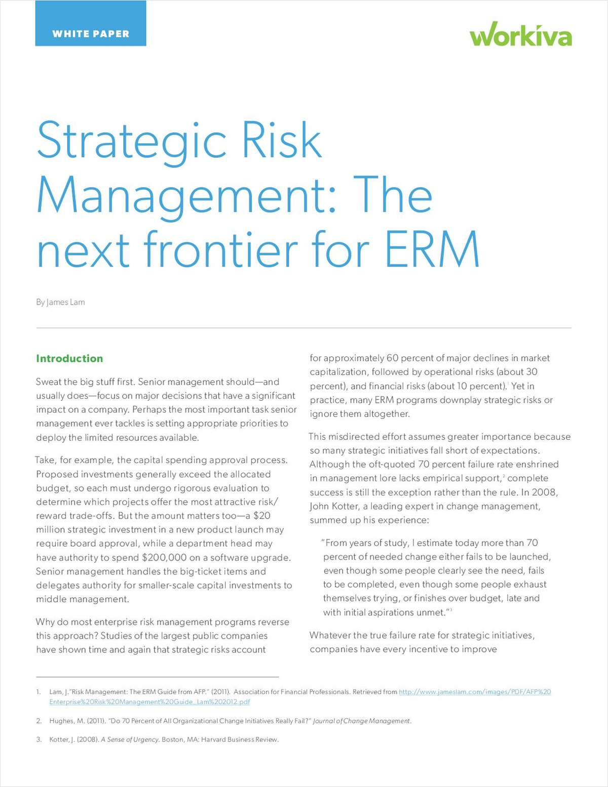 Be Prepared for the Next Frontier in ERM--Strategic Risk