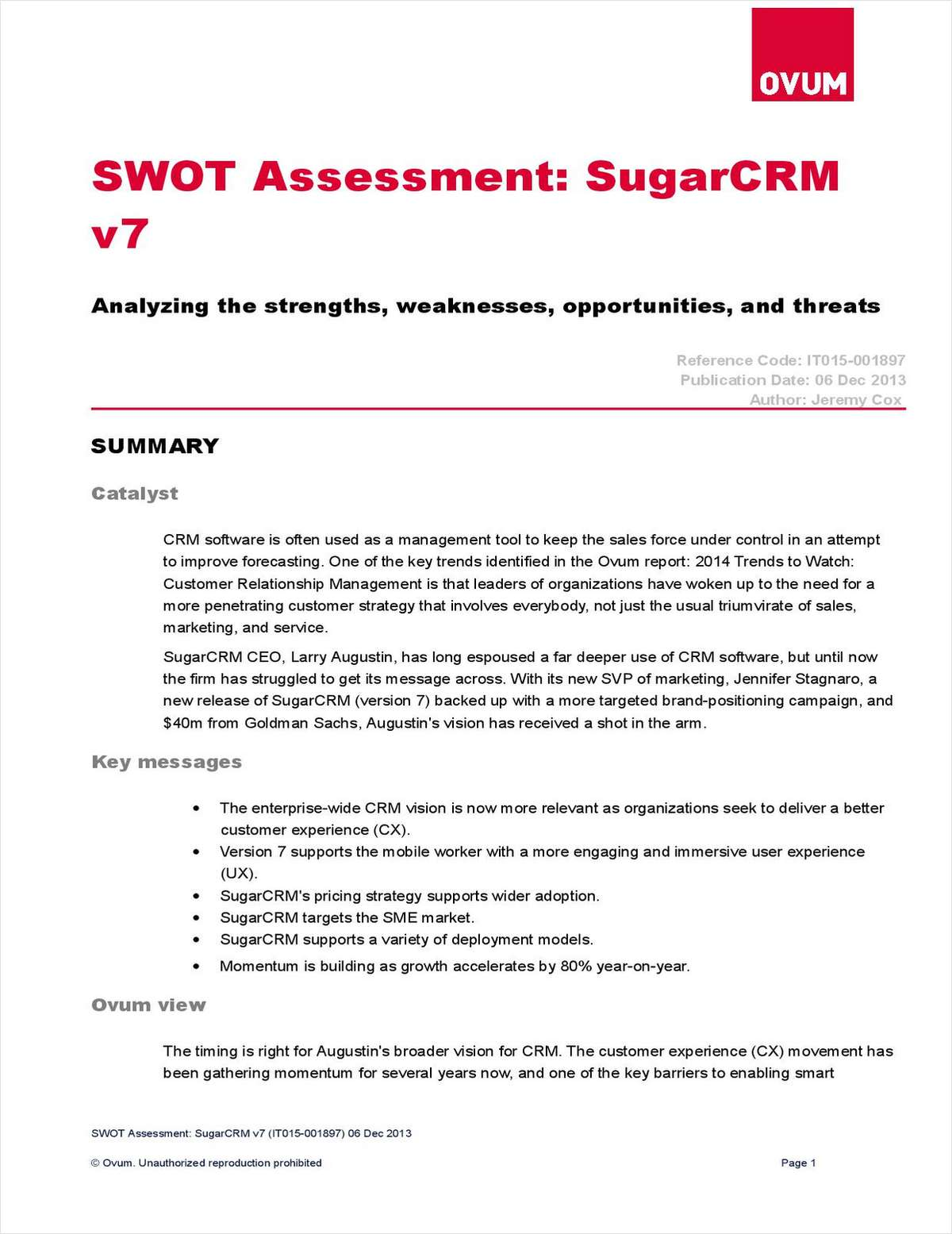 Learn Why Analyst Firm Ovum Names SugarCRM a Leading CRM