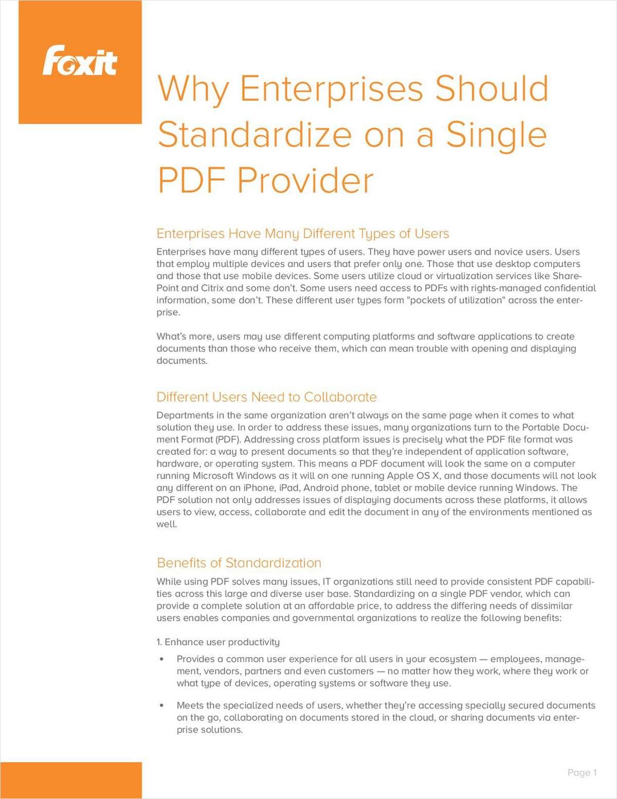 Why Enterprises Should Standardize on a Single PDF Provider