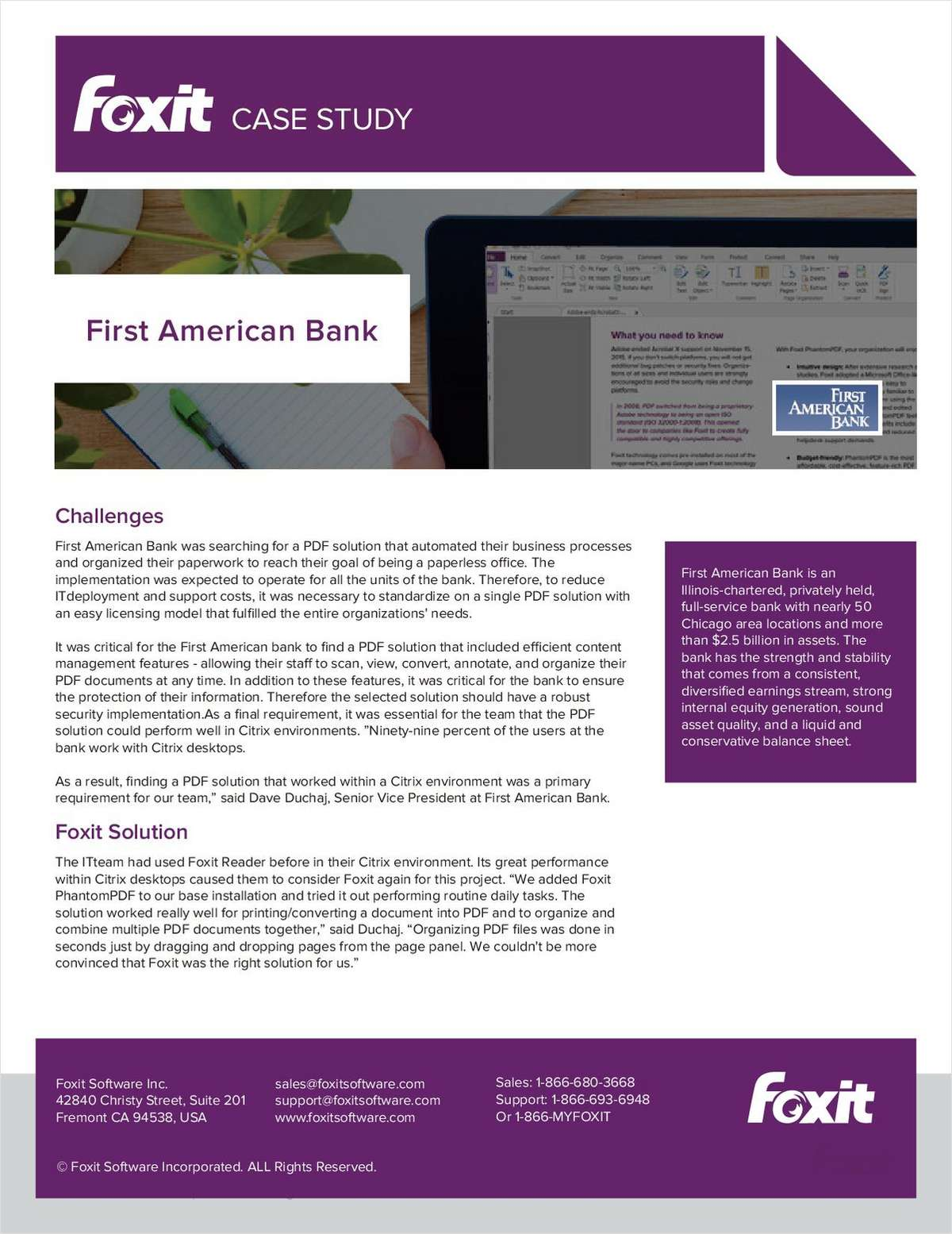 Foxit Case Study: First American Bank, Free Foxit