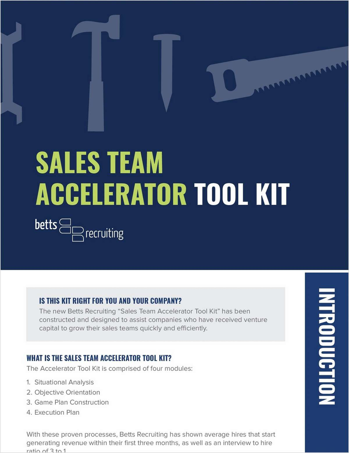 Sales Team Accelerator Tool Kit