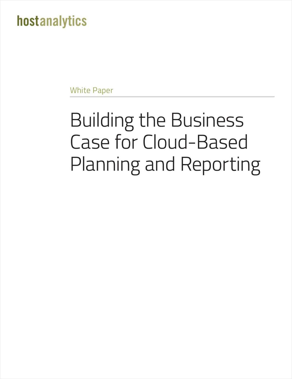 Building the Business Case for Cloud-Based Planning and Reporting