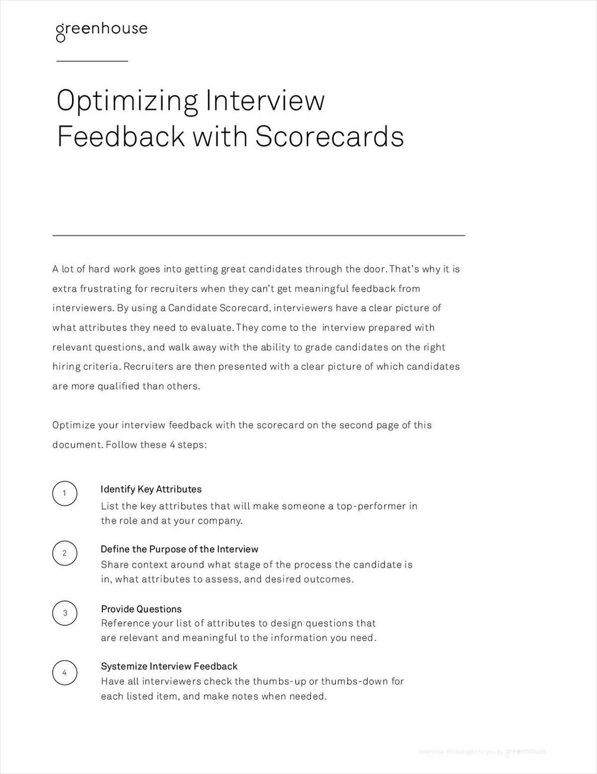 Interview Feedback Scorecard