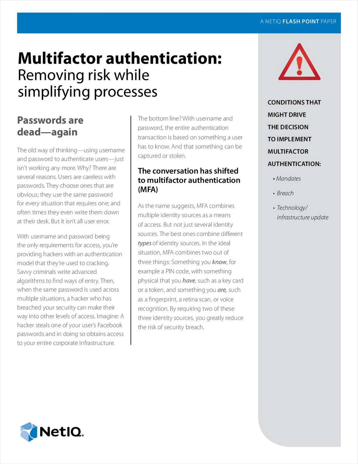 Multifactor Authentication: Removing Risk While Simplifying Processes