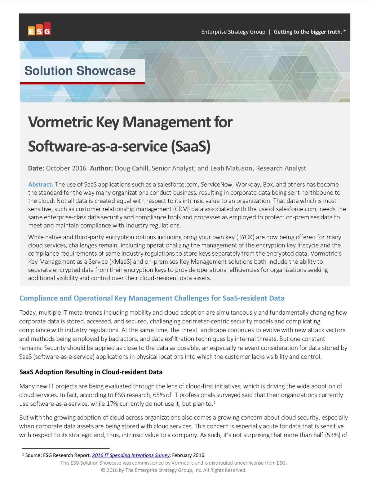 Solution Showcase: Vormetric Key Management for SaaS