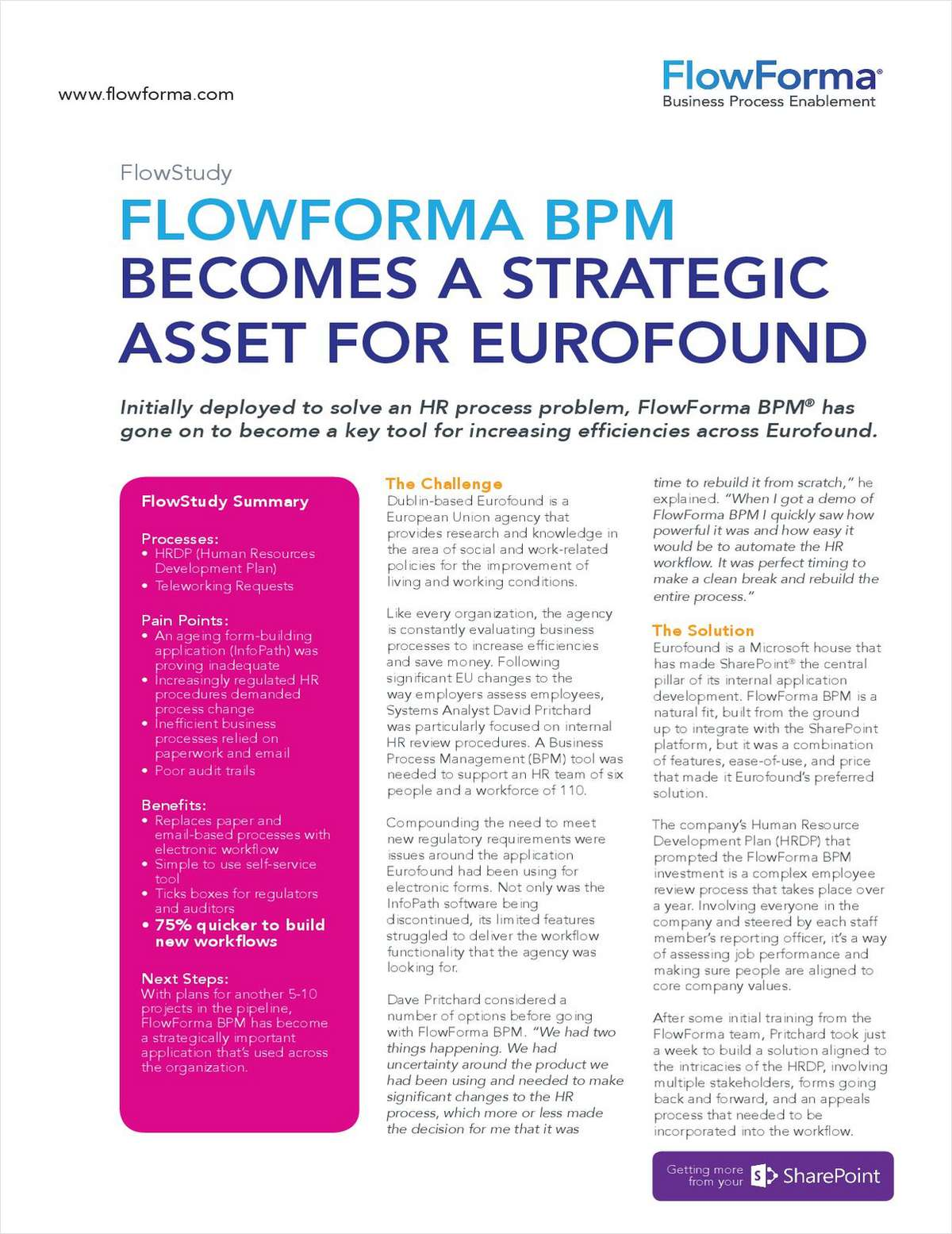 Eurofound Adopts FlowForma BPM To Drive 75% Efficiency Improvement