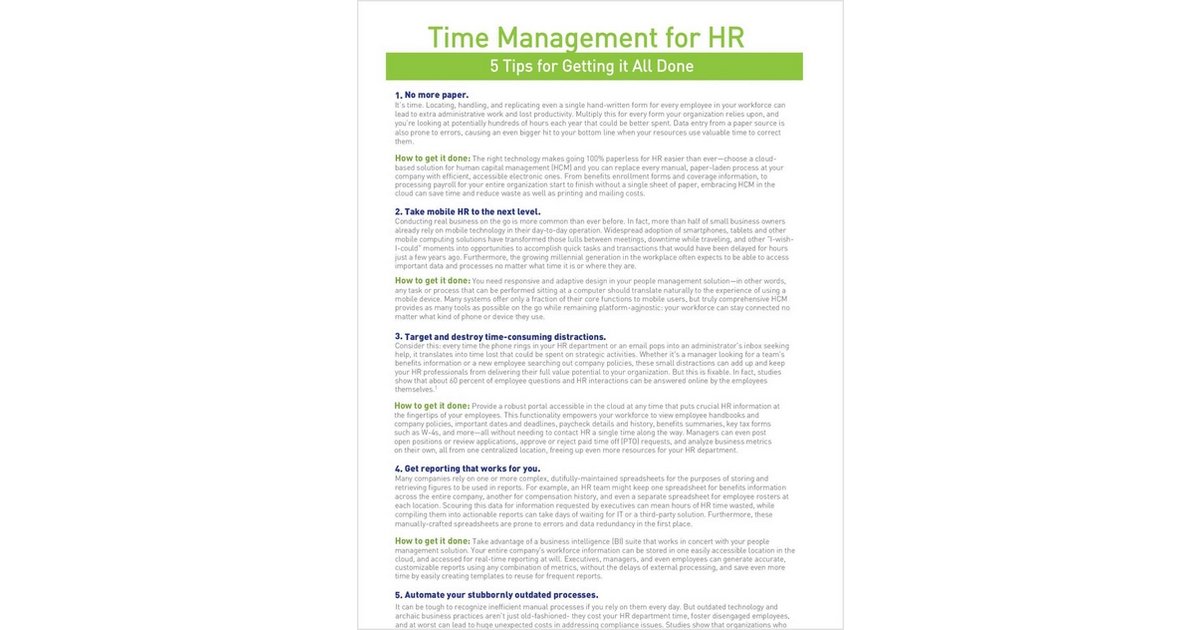 Time Management For Hr Free Ultimate Software Checklist