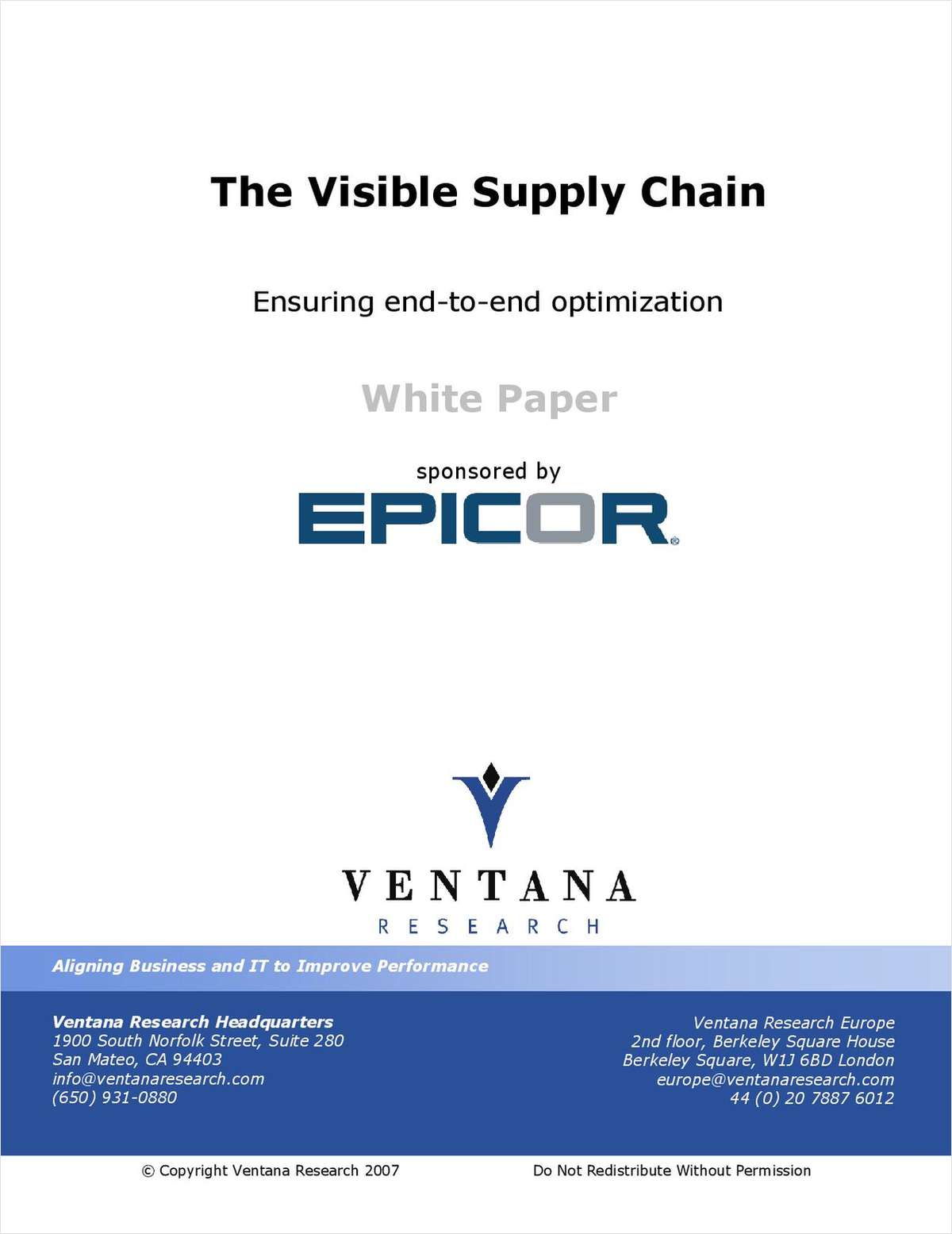 The Visible Supply Chain: Ensuring End-to-End Optimization