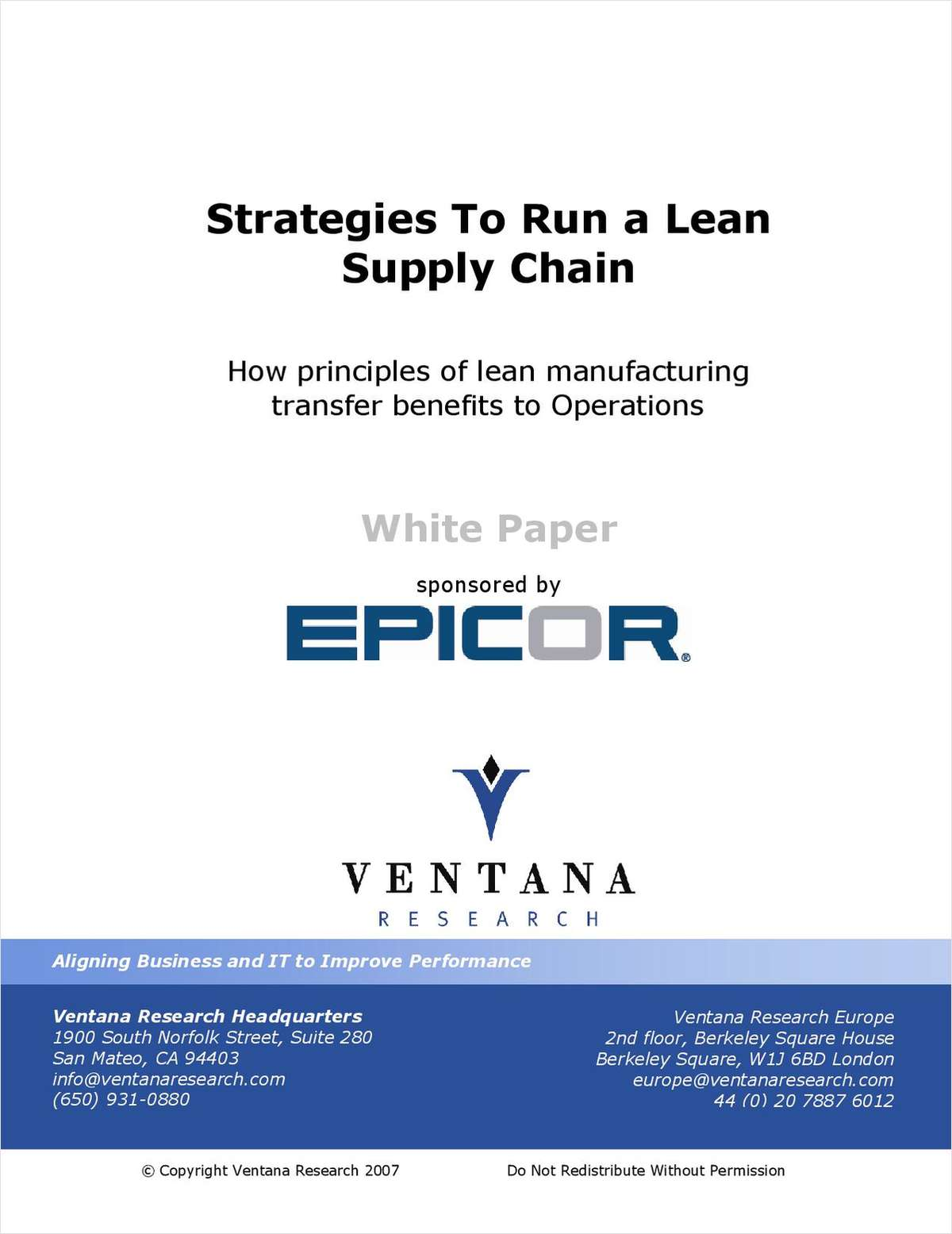 Strategies to Run a Lean Supply Chain: How Principles of Lean Manufacturing Transfer Benefits to Operations