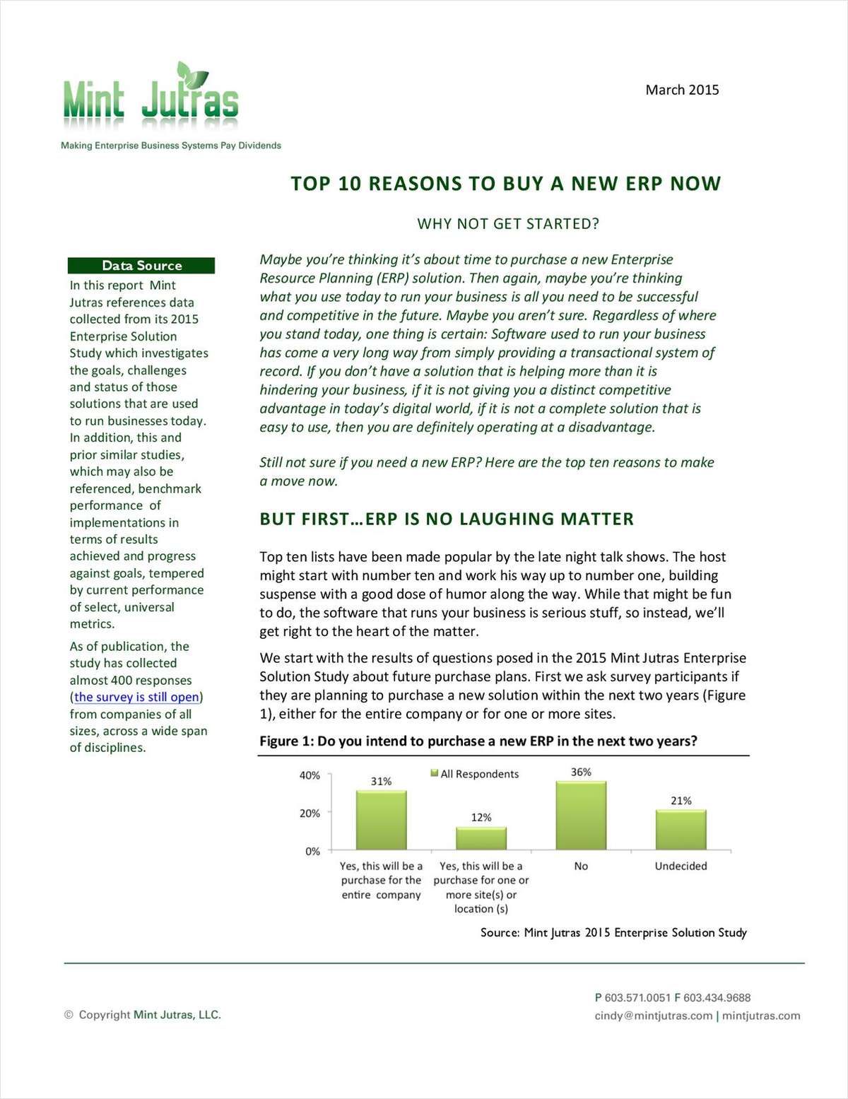 Top 10 Reasons to Buy a New ERP Now