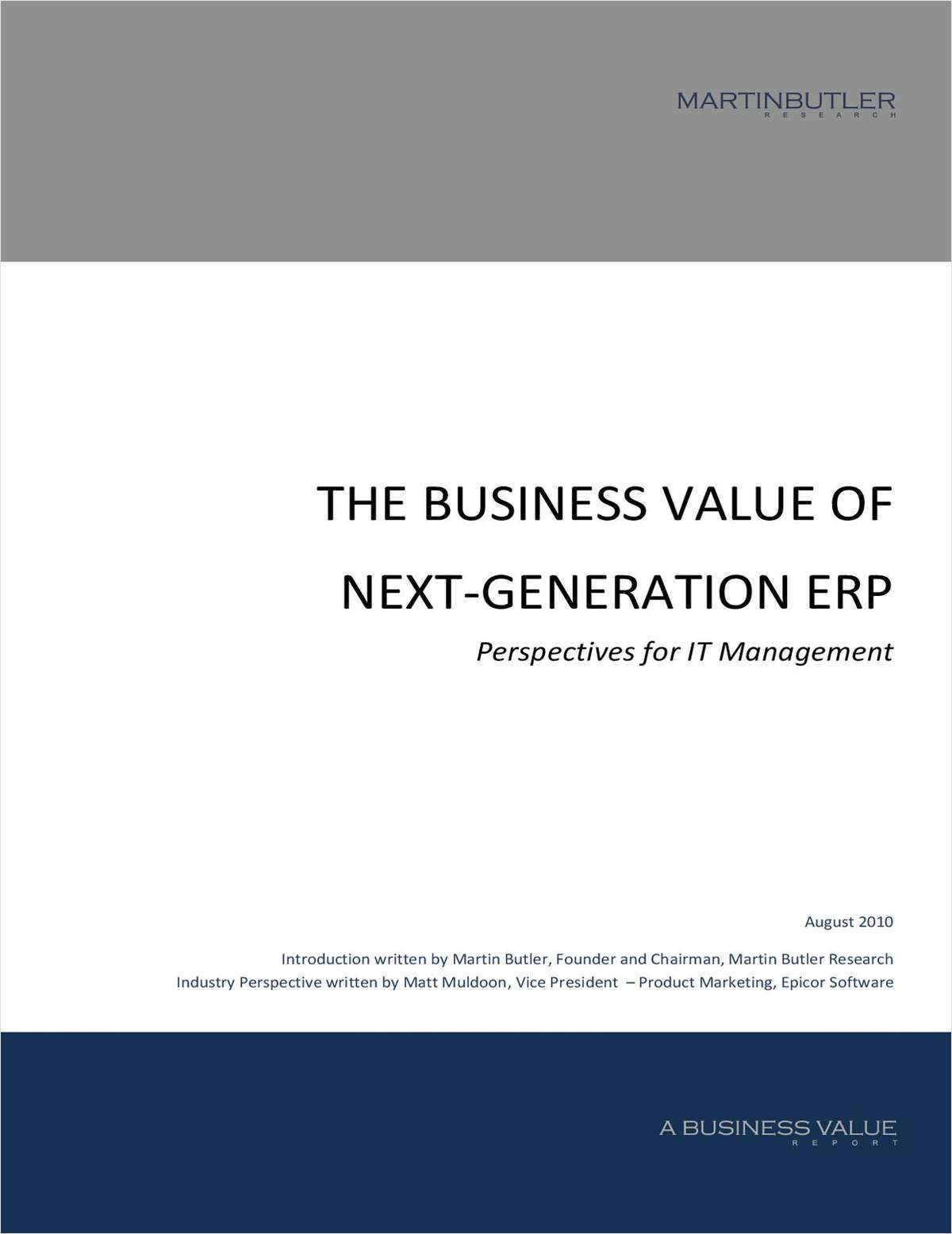 The Business Value of Next-Generation ERP: Perspectives for IT Management in Manufacturing