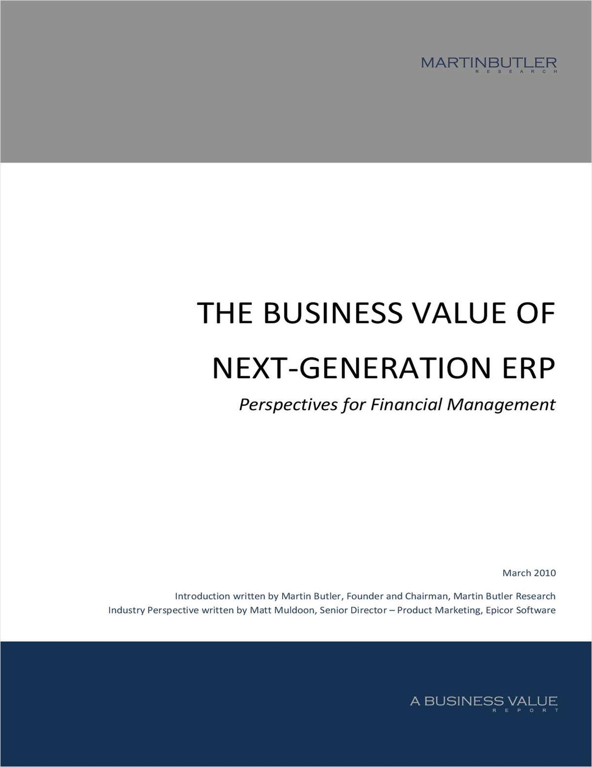 The Business Value of Next-Generation ERP: Perspectives for Financial Management in Manufacturing