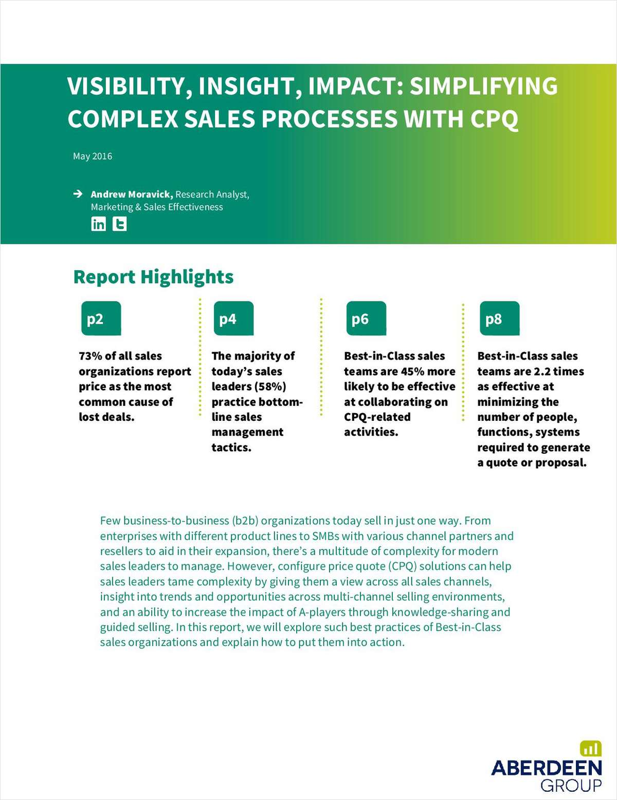 Aberdeen Report: Simplifying Complex Sales Processes with CPQ