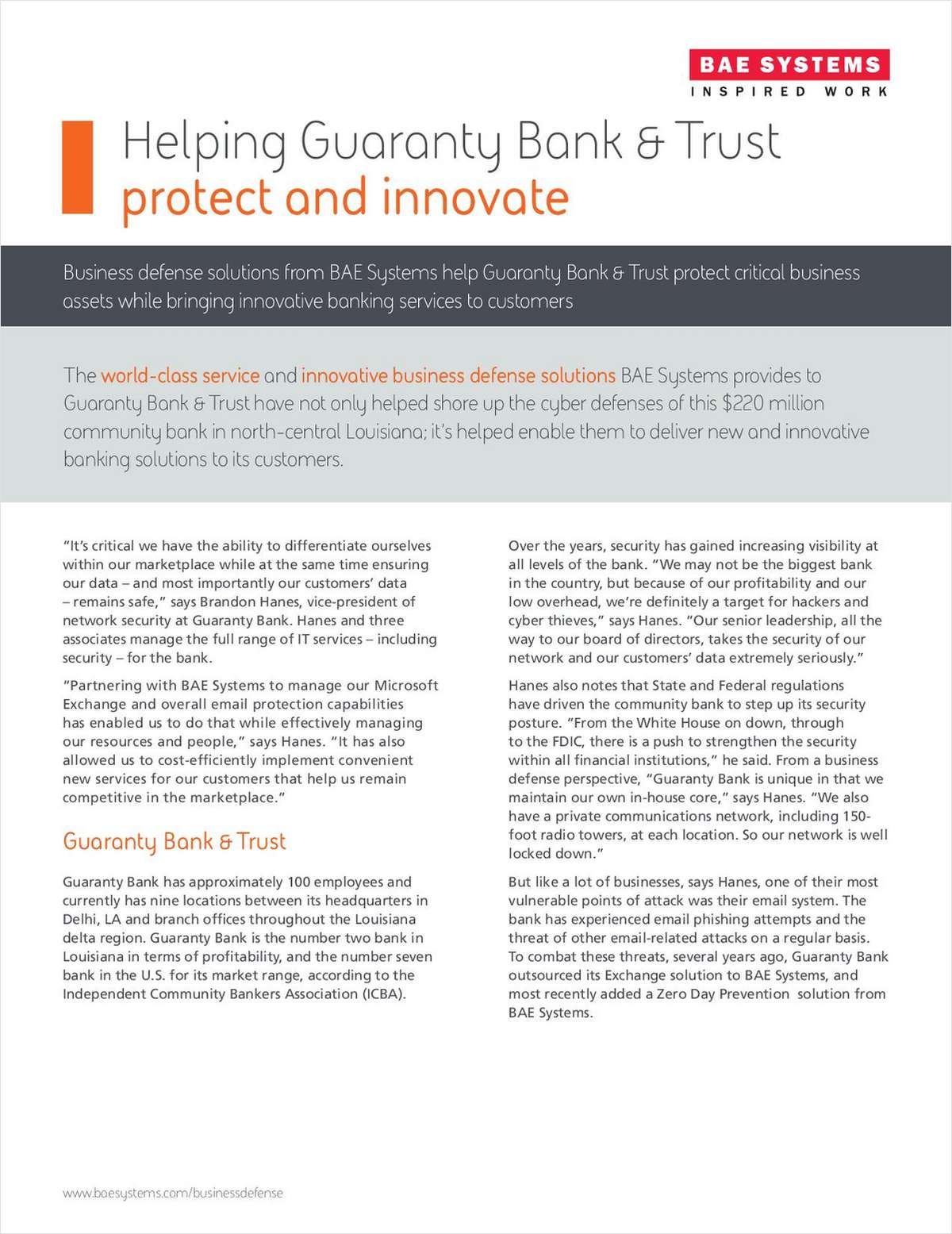 Helping Guaranty Bank & Trust Protect and Innovate