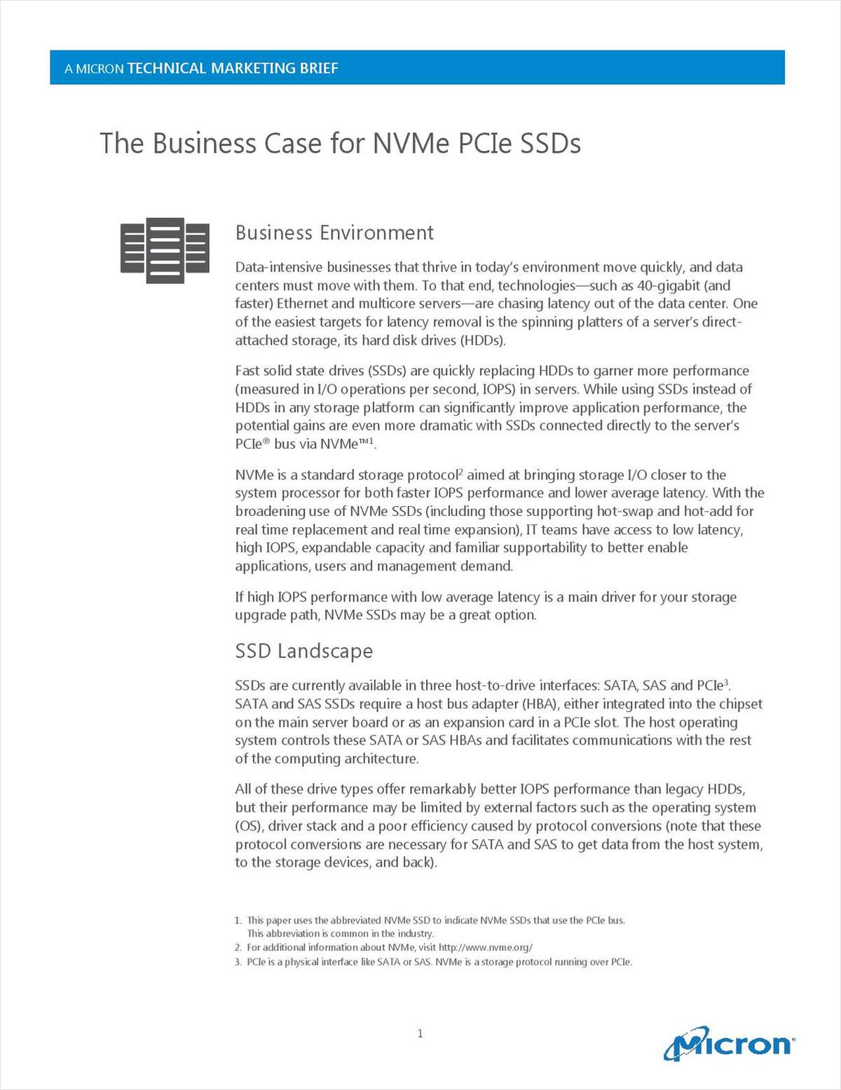 The Business Case for NVMe PCIe SSDs