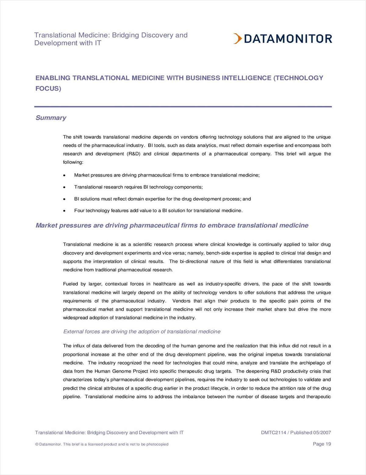 Enabling Translational Medicine with Business Intelligence
