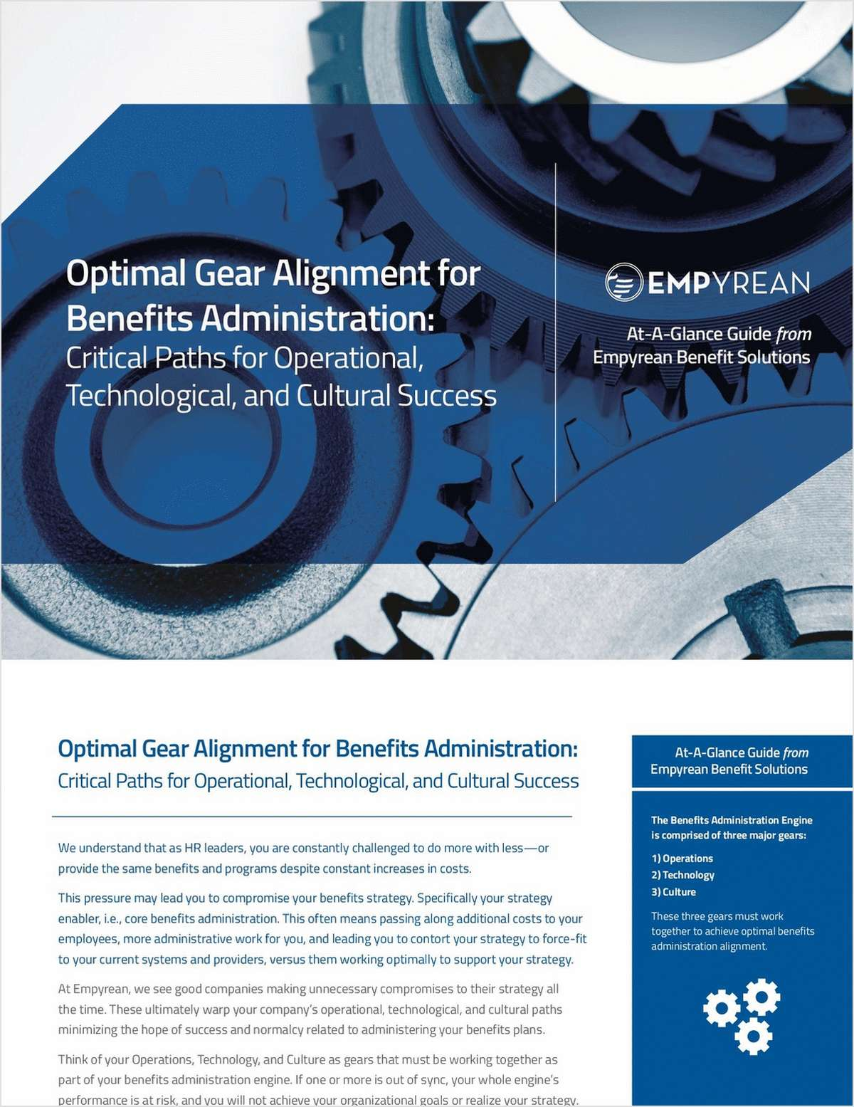 Optimal Gear Alignment for Benefits Administration: Critical Paths for Operational, Technological, and Cultural Success