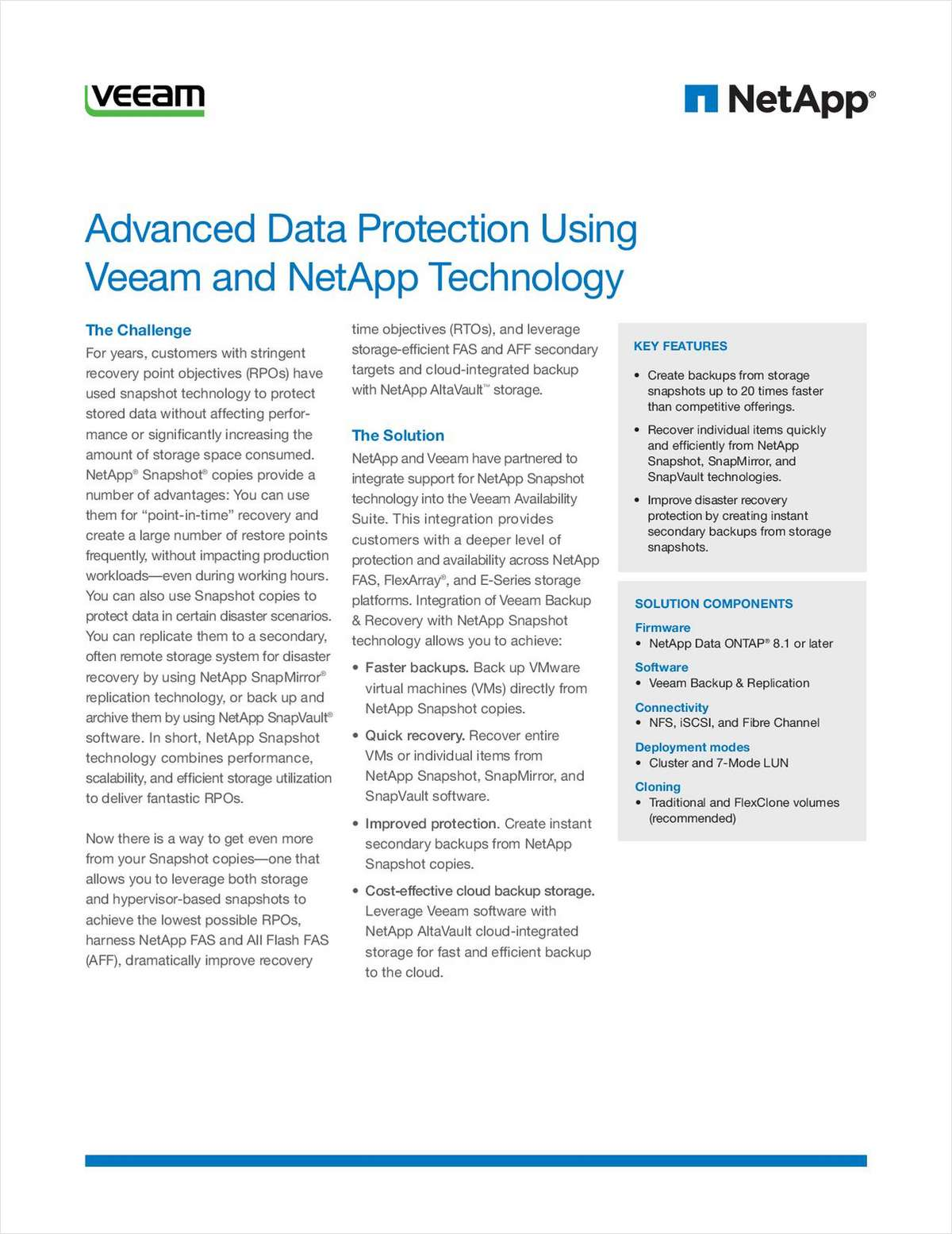 Advanced Data Protection Using Veeam and NetApp Technology