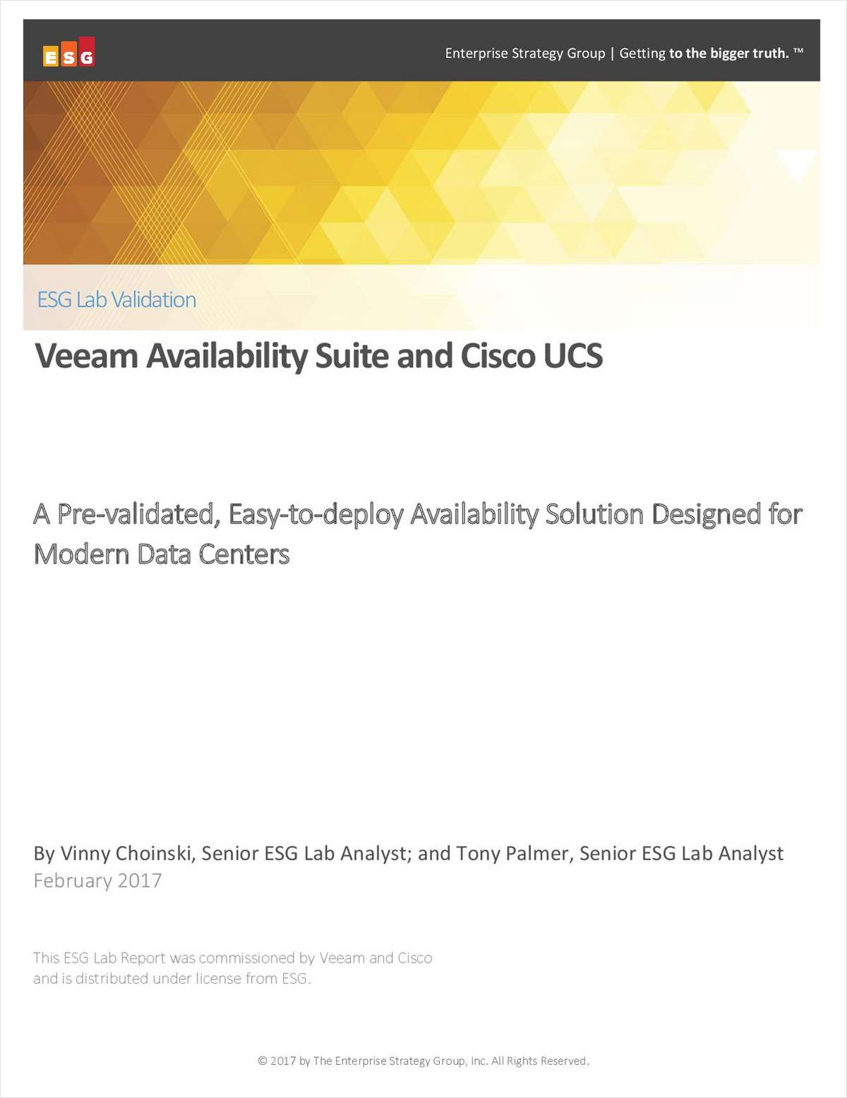 ESG Lab Validation: Veeam Availability Suite and Cisco UCS