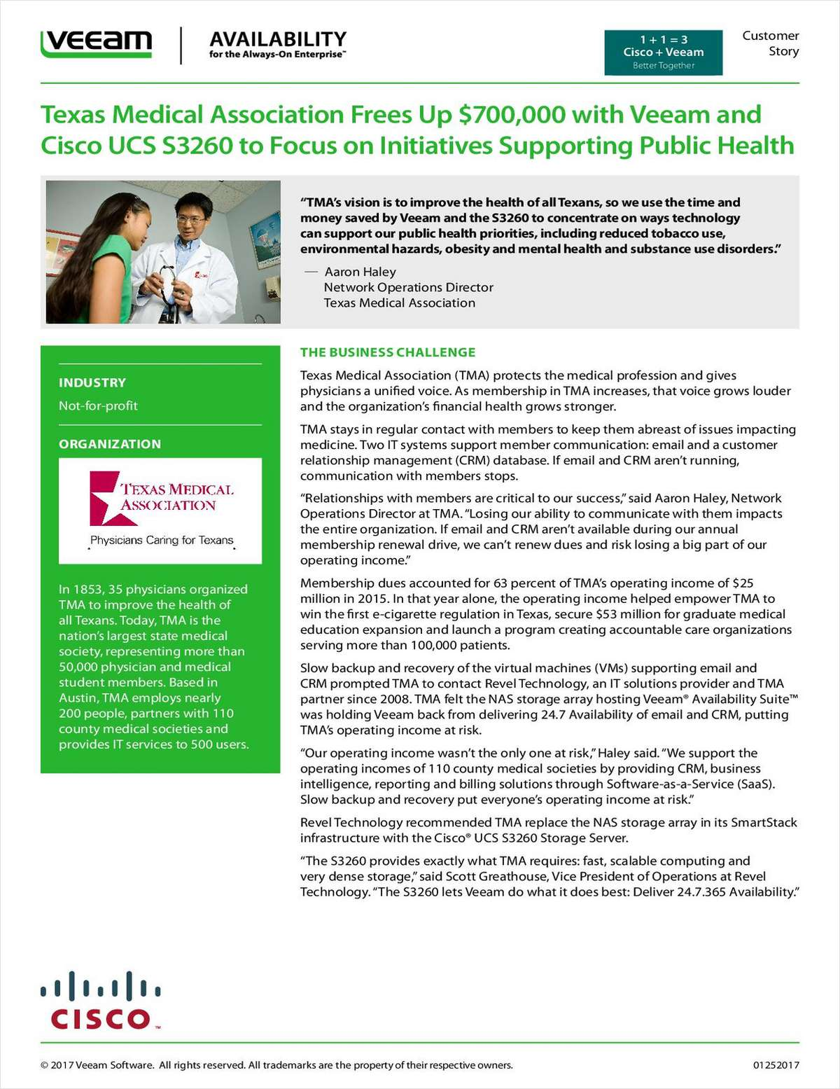 Texas Medical Association Frees Up $700,000 with Veeam and Cisco UCS S3260 to Focus on Initiatives Supporting Public Health