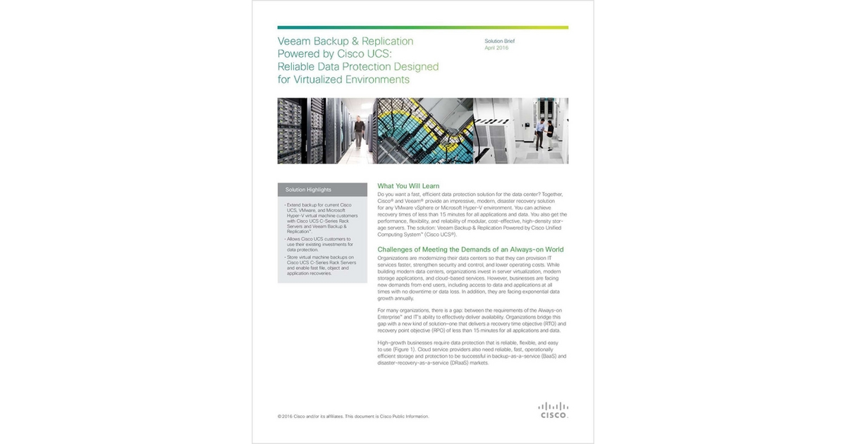 Veeam Backup & Replication Powered by Cisco UCS: Reliable