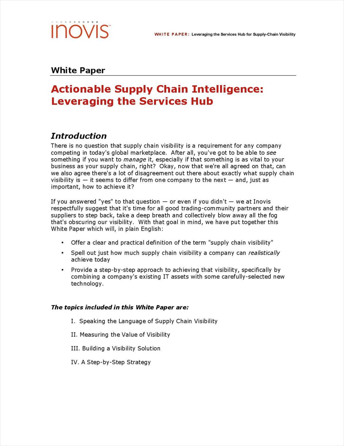 Actionable Supply Chain Intelligence: Leveraging the Services Hub