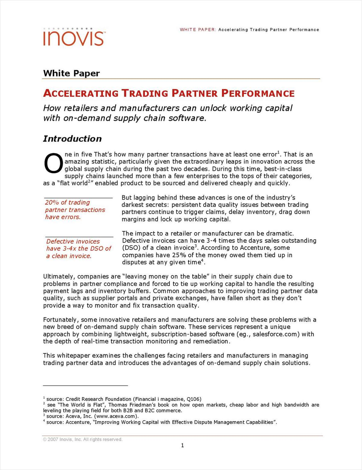 Accelerating Trading Partner Performance: How Retailers and Manufacturers can Unlock Working Capital with on-demand Supply Chain Software