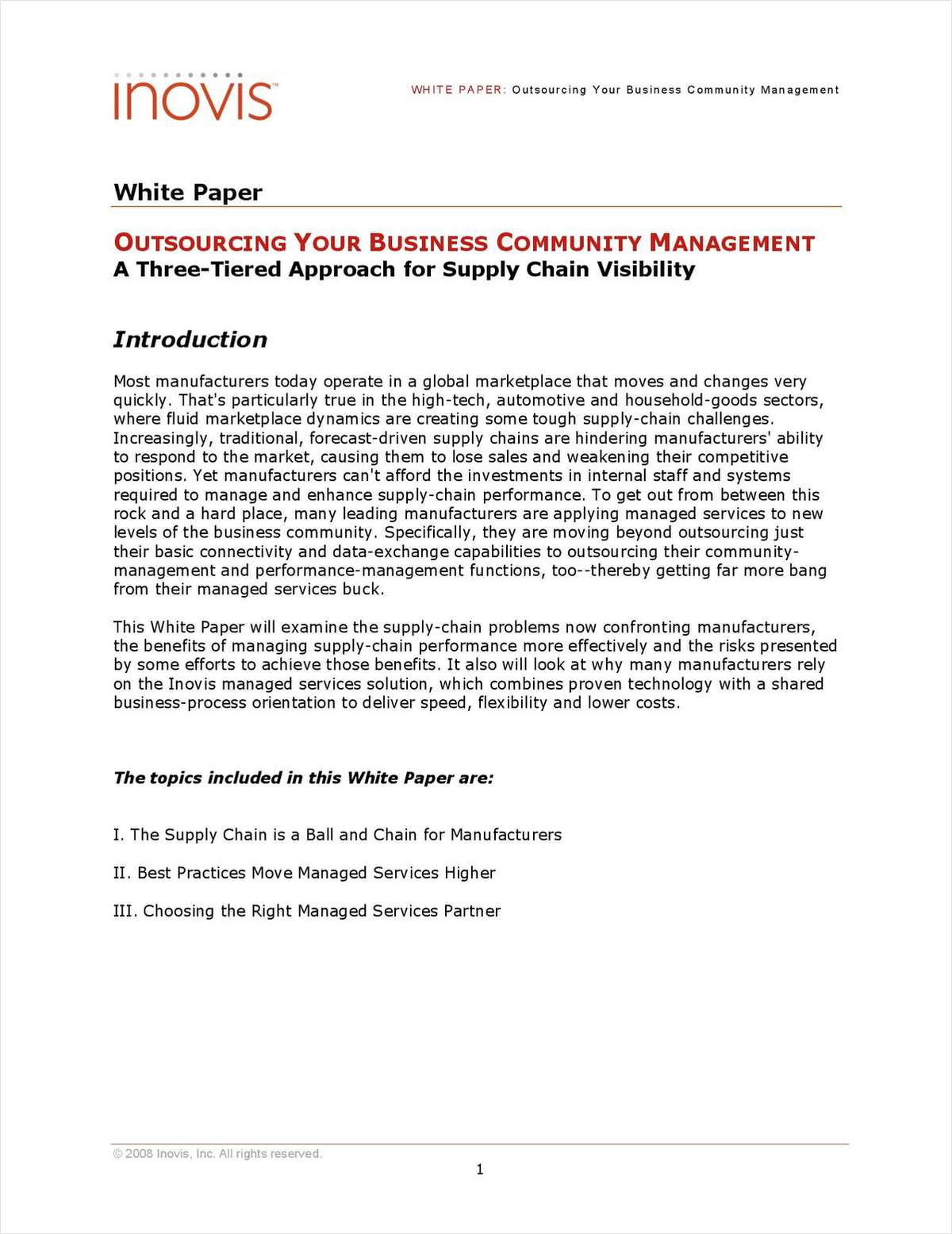 Outsourcing Your Business Community Management: A Three-Tiered Approach for Supply Chain Visibility