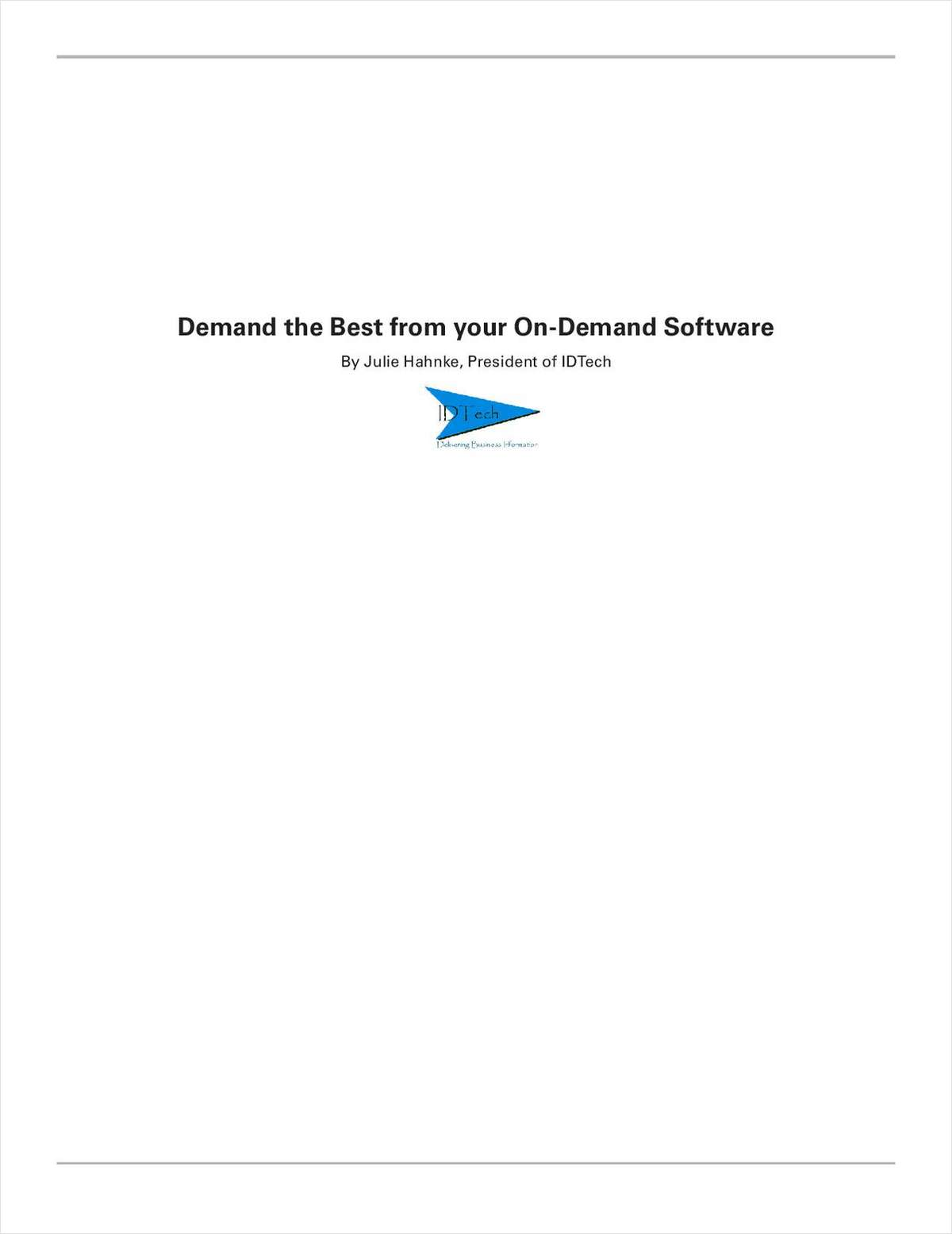 Demand the Best from Your On-Demand Software