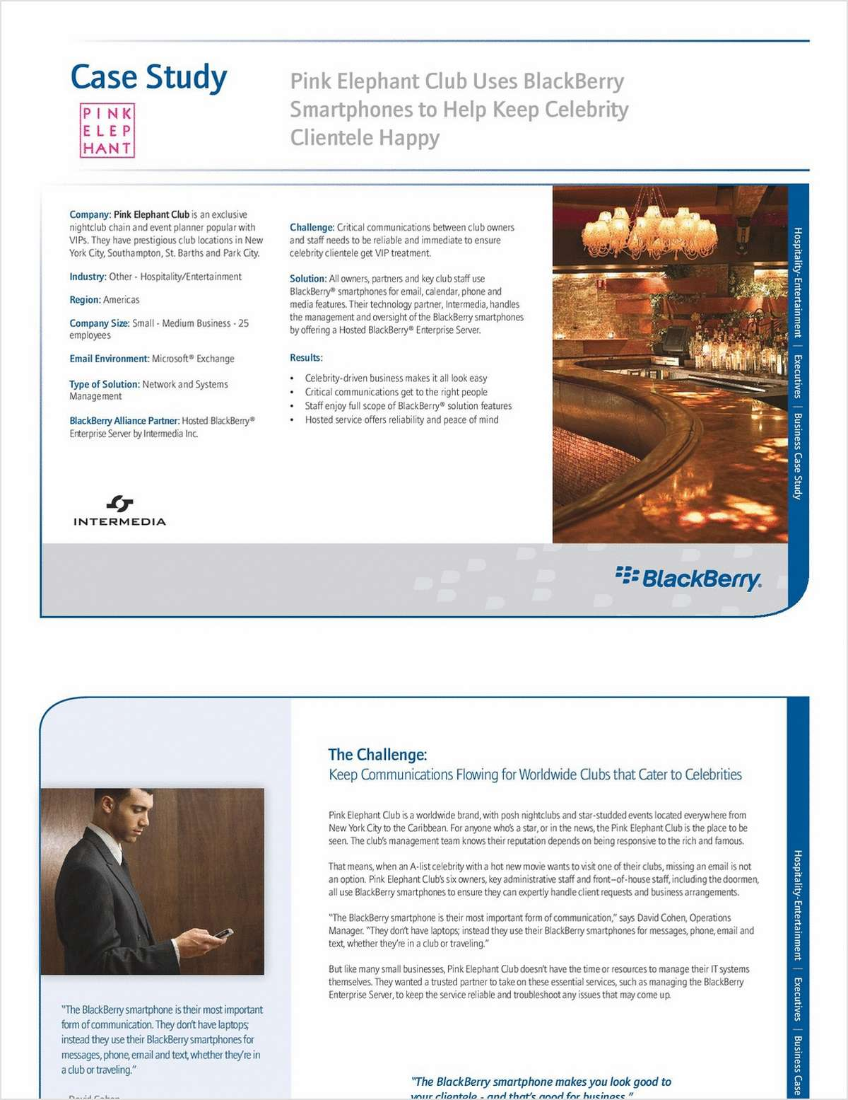 The BlackBerry Solution for Keeping Celebrity Clientele Happy: The Pink Elephant Club Case Study