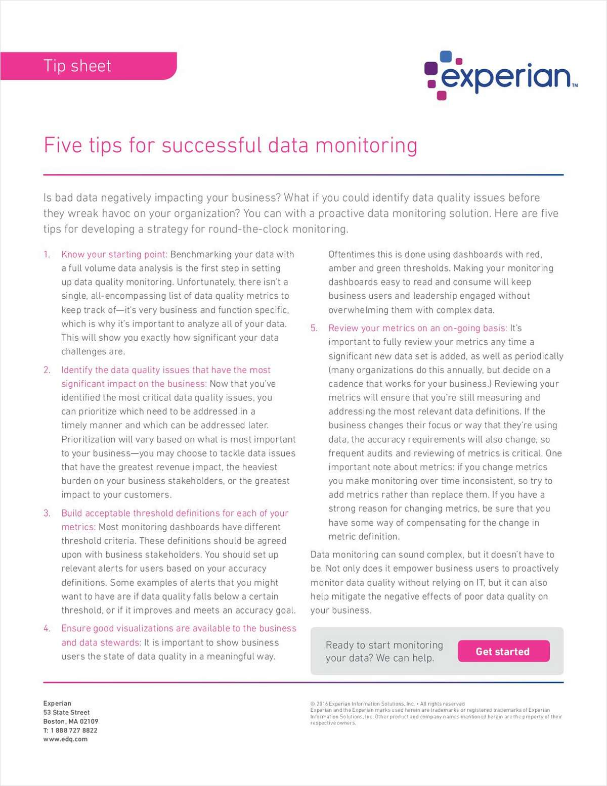 Five tips for successful data monitoring