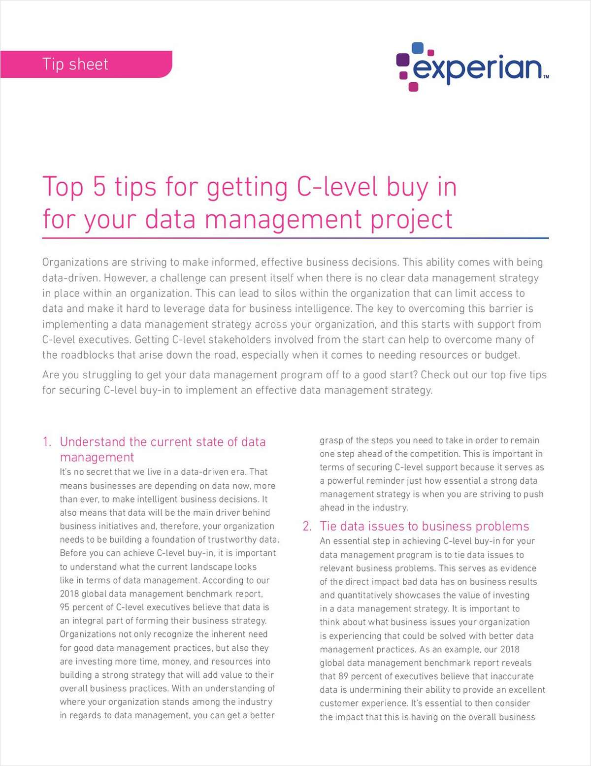 Top 5 tips for getting C-level buy in for your data management
