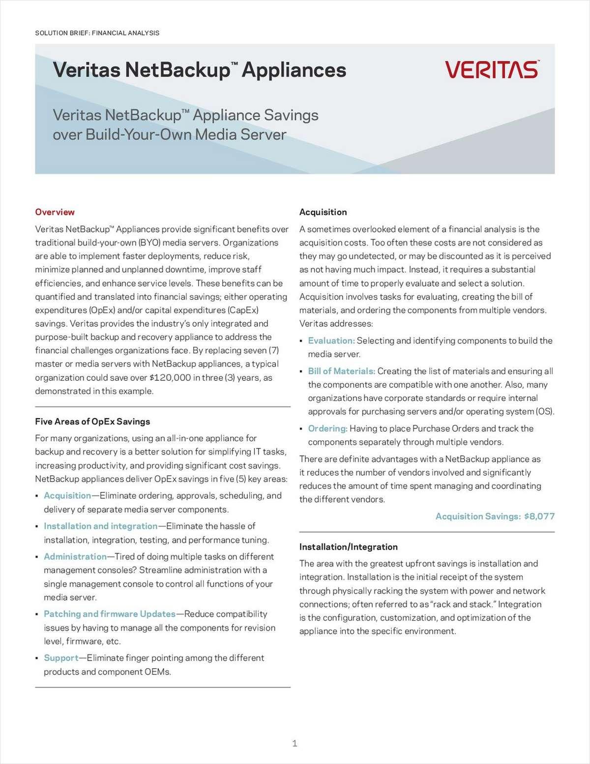 Veritas NetBackup Appliance Savings over Build Your Own Media Server