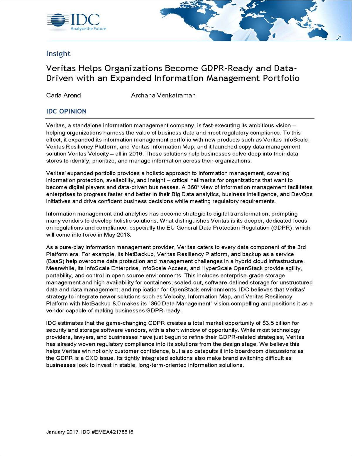 IDC: Veritas Helps Organizations Become GDPR-Ready and Data-Driven with an Expanded Information Management Portfolio