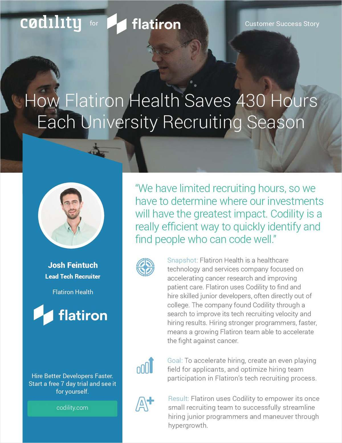 How Flatiron Health Saves 430 Hours Each University Recruiting Season