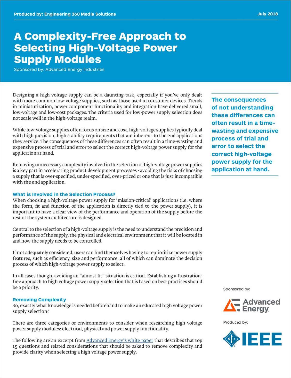 A Complexity-Free Approach to Selecting High-Voltage Power Supply Modules