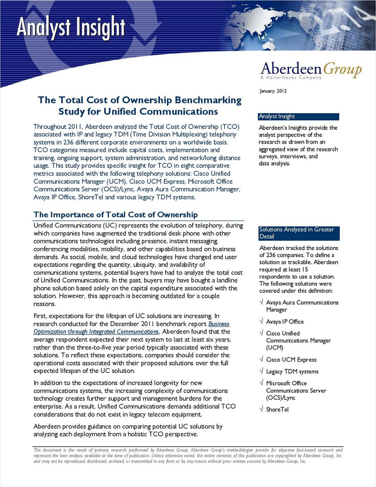Aberdeen TCO Benchmarking Study