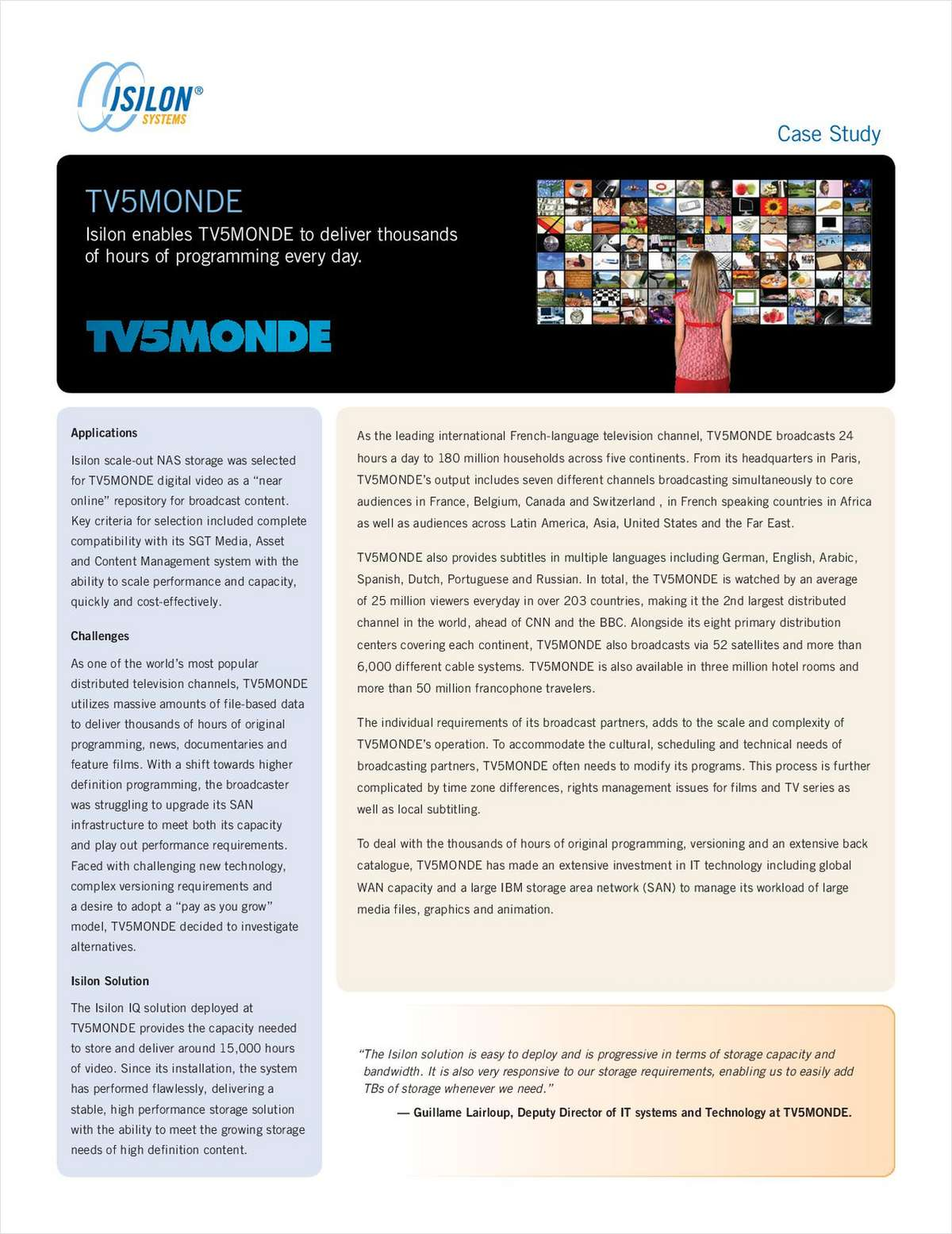Case Study: TV5MONDE Delivers Programming 24 Hours a Day