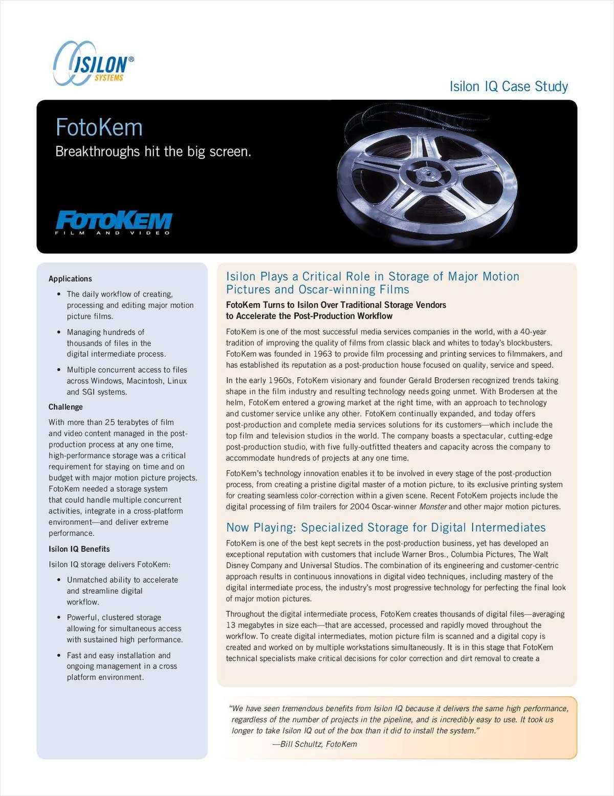 Isilon IQ Case Study: FotoKem Breakthroughs Hit the Big Screen