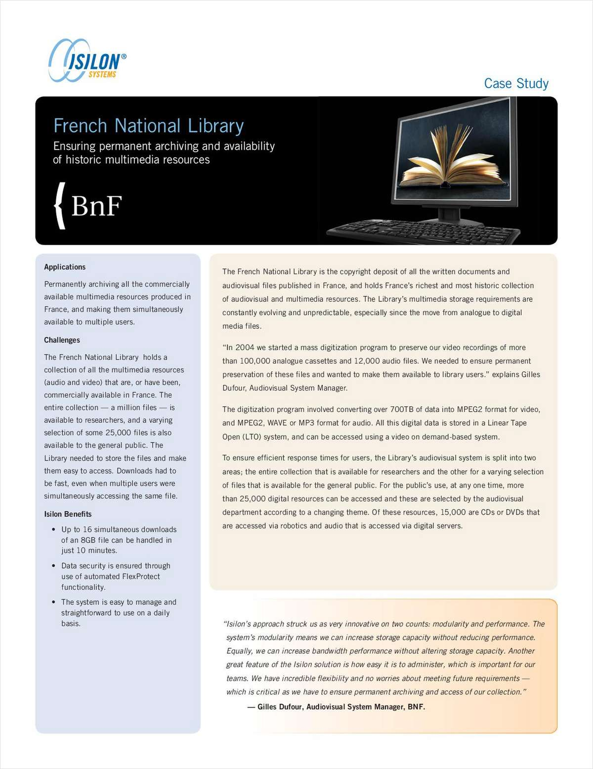 Isilon IQ Case Study: French National Library