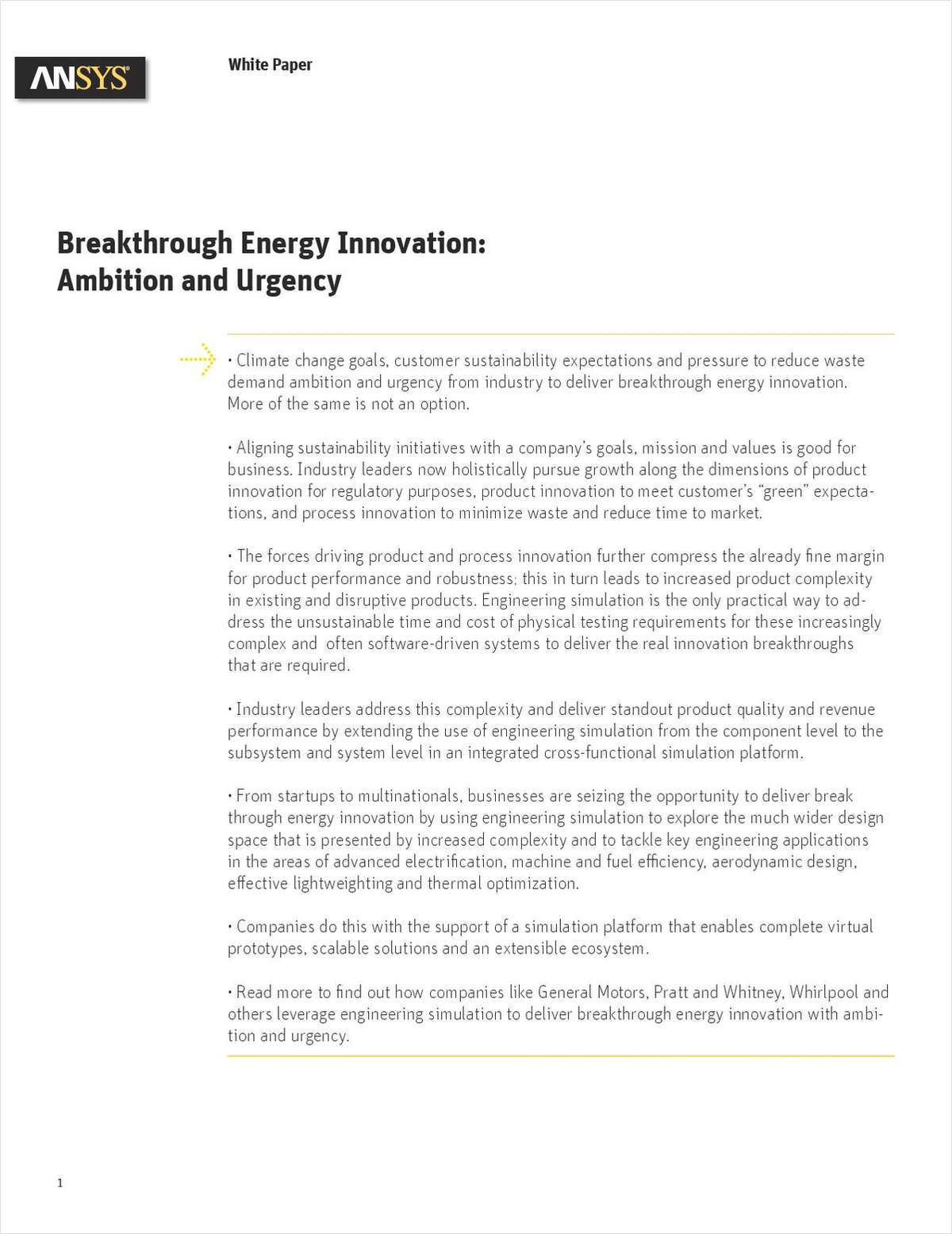 Breakthrough Energy Innovation: Ambition and Urgency