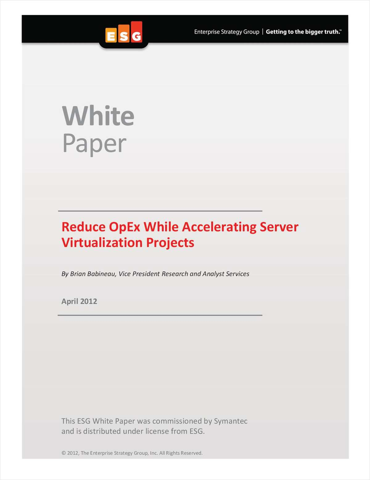 Reduce OpEx While Accelerating Server Virtualization Projects