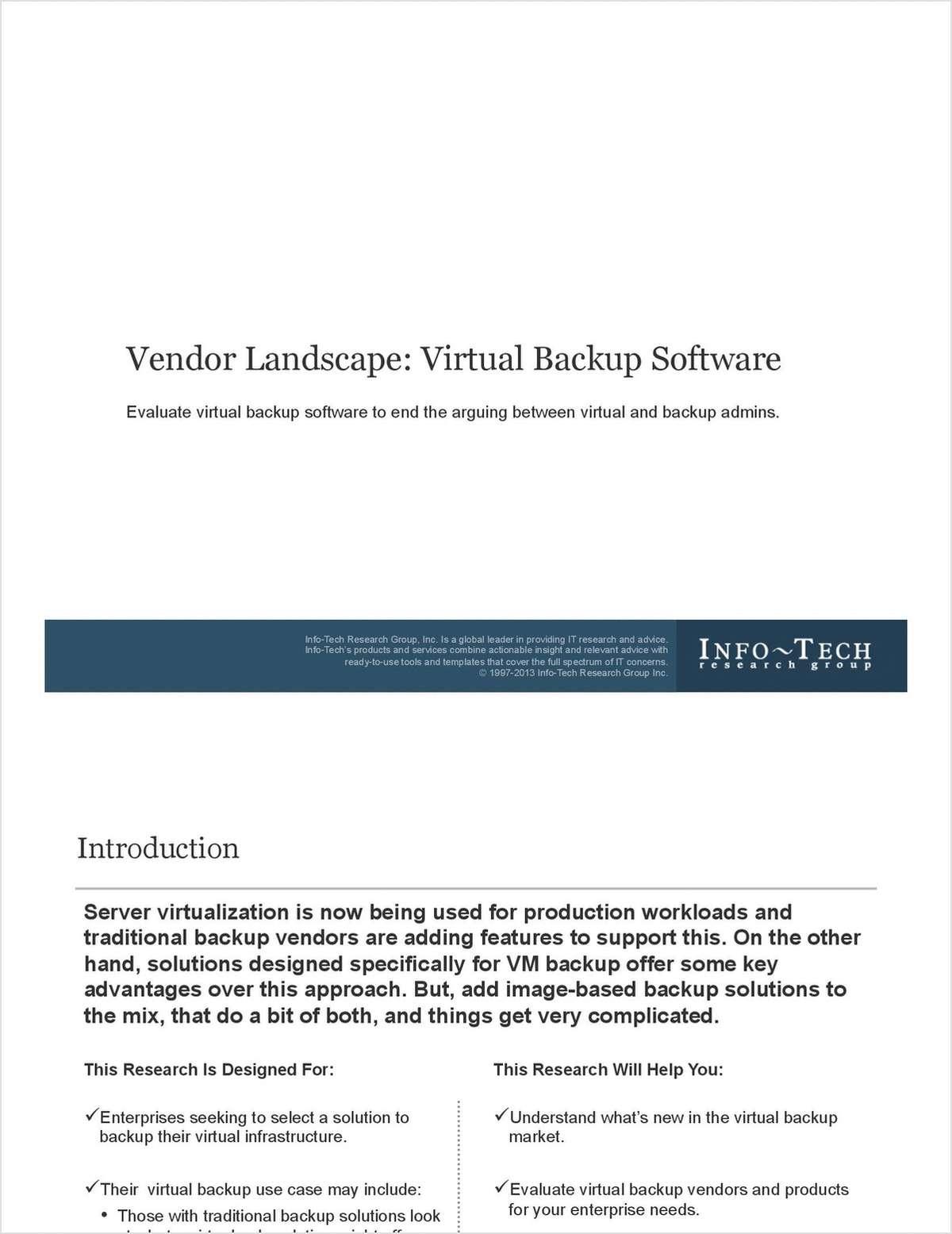 Vendor Landscape: Virtual Backup Software