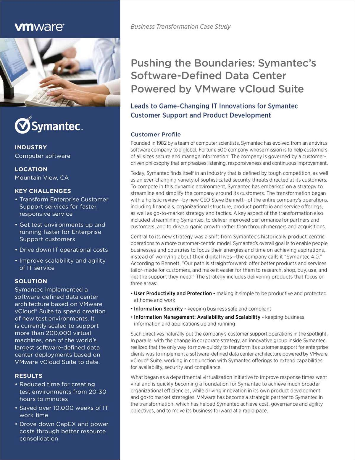 Pushing the Boundaries: Symantec's Software-Defined Data Center Powered by VMware vCloud Suite