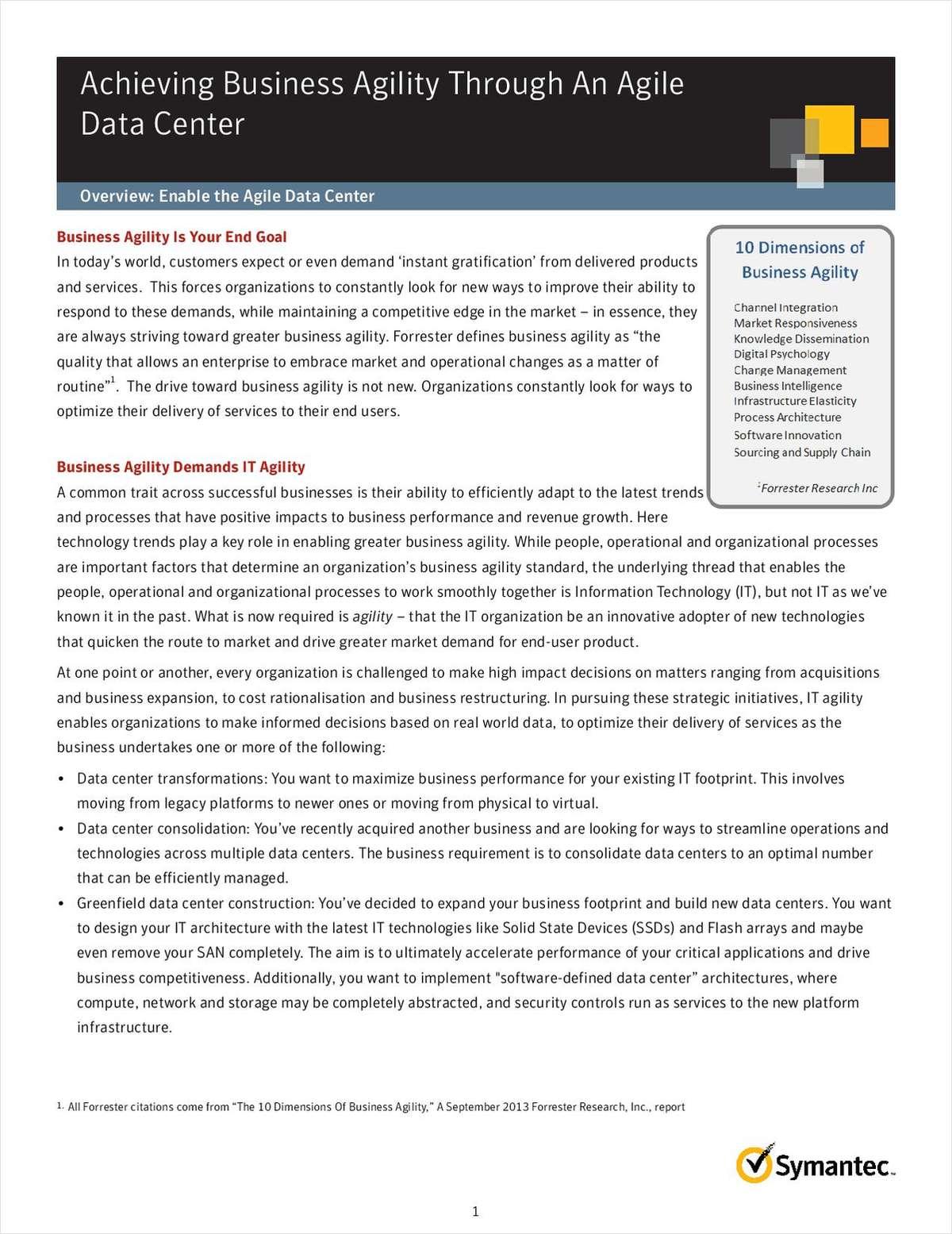 Achieving Business Agility Through An Agile Data Center