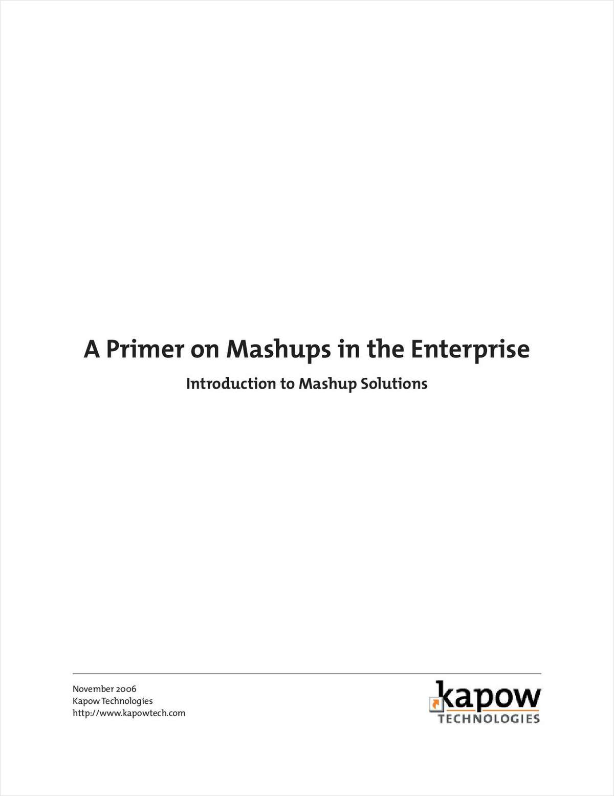 Intro to Mashups: Application and Service Integration Made Easy