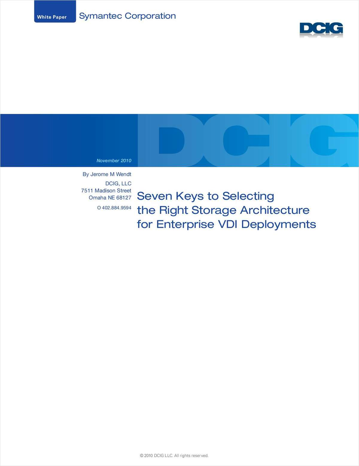 Seven Keys to Selecting the Right Storage Architecture for Enterprise VDI Deployments