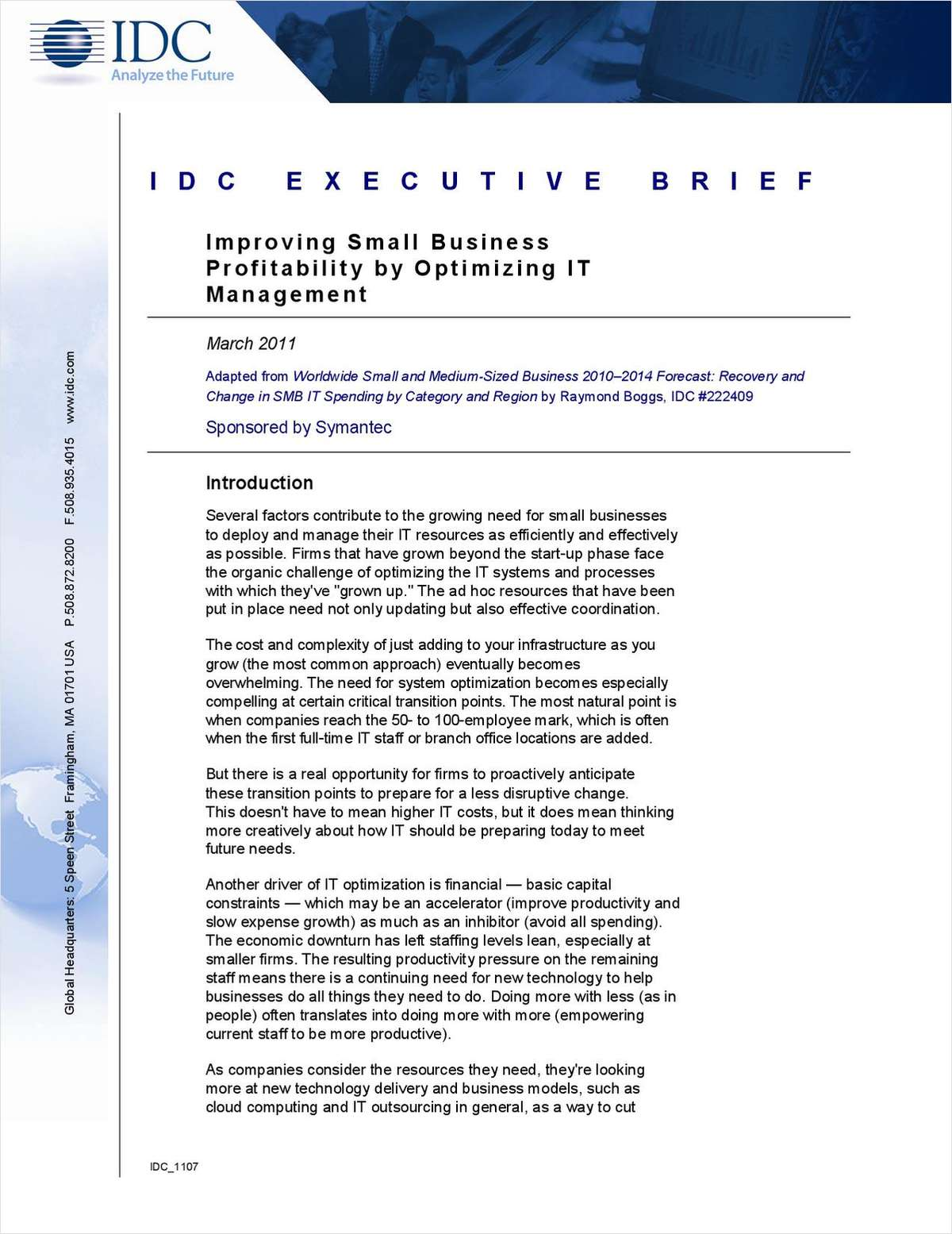 IDC Executive Brief: Improving Small Business Profitability by Optimizing IT Management