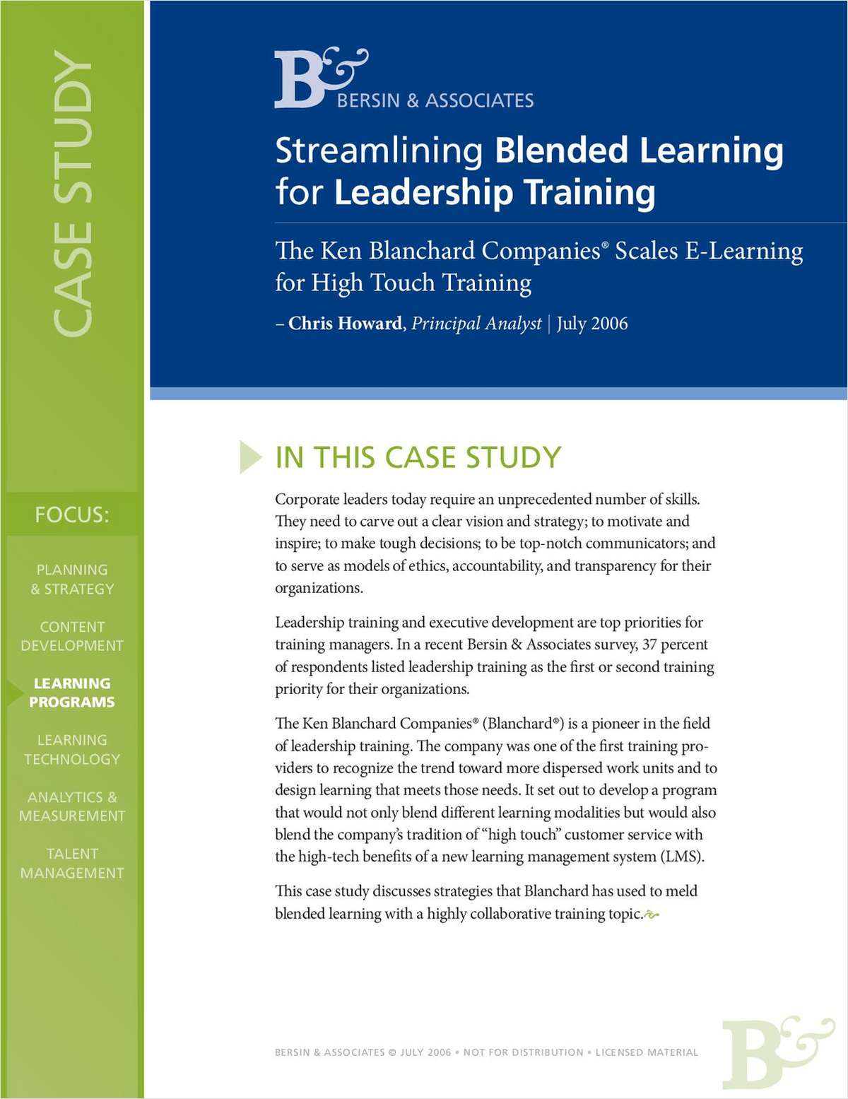 Streamlining Blended Learning for Leadership Training